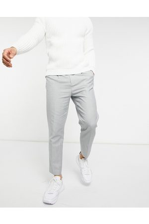 ASOS Tapered trouser in cotton linen-Grey