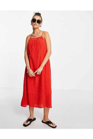 & OTHER STORIES High neck pleated midi dress in red