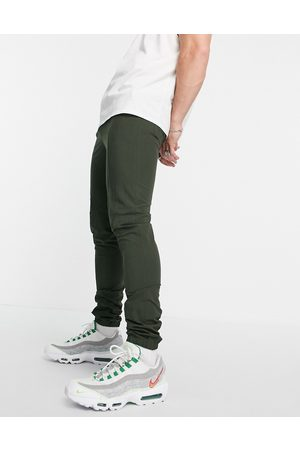ASOS Smart skinny trousers with jogger cuff in green seersucker