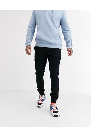 ASOS Skinny cargo cuffed trousers in black