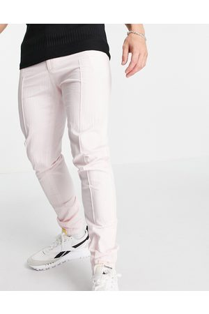 ASOS Smart skinny trousers with jogger cuff in pink seersucker