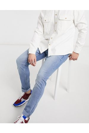 Only & Sons Herre Skinny - Slim jeans in light blue with rips