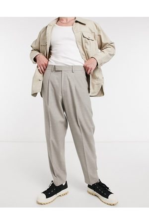 ASOS Oversized tapered smart trouser in grey flannel