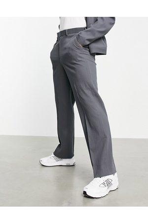 ASOS Co-ord smart wide leg trouser in grey crinkle