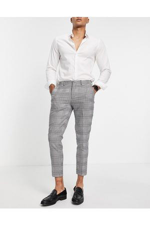 SELECTED Skinny fit suit trousers in white check