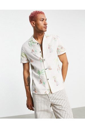 ASOS Regular linen mix shirt with embroidery sombero print-Neutral