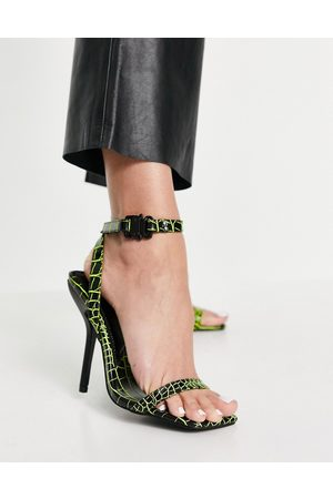 ASOS Note barely there heeled sandals in black and lime croc-Multi