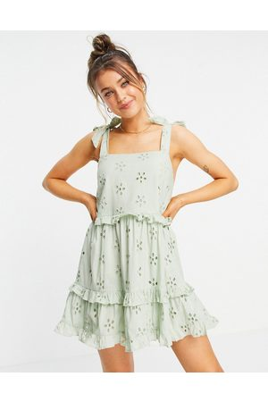 ASOS Broderie ruffle swing mini sundress with tie straps in sage green