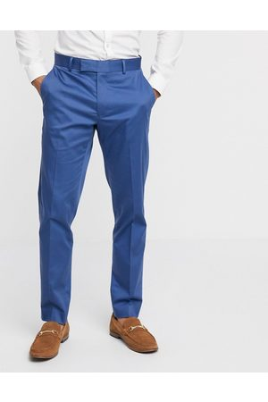 ASOS Wedding slim suit trousers in blue stretch cotton