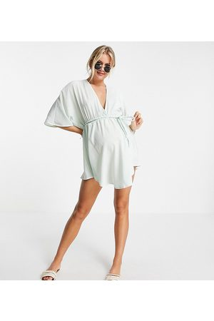 ASOS ASOS DESIGN maternity plait belted beach cover up in silky mint-Blue