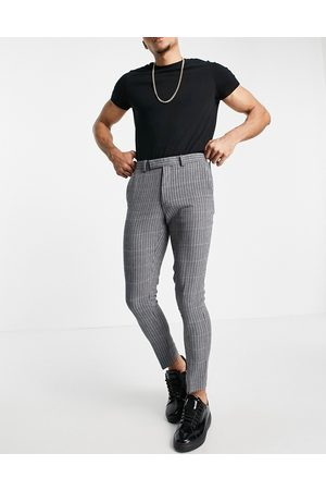 ASOS Super skinny soft tailored wool mix suit trouser in blue micro with grid check