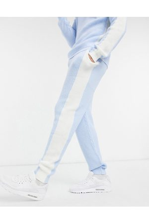 ASOS Knitted co-ord side stripe joggers in pastel blue