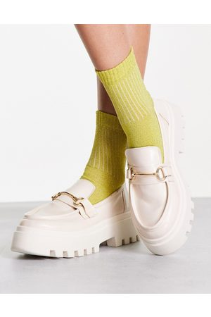 ASOS Miller chunky loafers in off white drench
