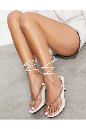 Public Desire Amarlie heeled sandals with chain detail in white