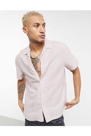 ASOS Relaxed fit linen shirt with revere collar in pink