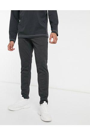 Only & Sons Stretch smart trouser in dark grey pinstripe