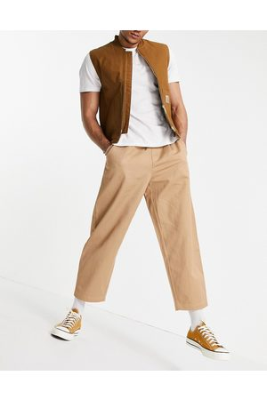 Vintage Supply Cotton twill joggers in sand-Neutral