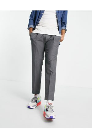 Topman Tapered trousers with pleat in grey