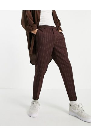 ASOS Tapered smart trousers in burgundy stripe