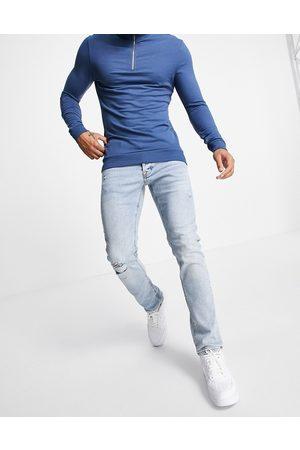 JACK & JONES Intelligence Glenn slim jeans with rips in light blue