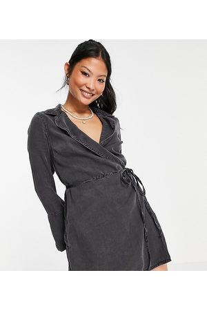 ASOS ASOS DESIGN Petite soft denim wrap dress in washed black
