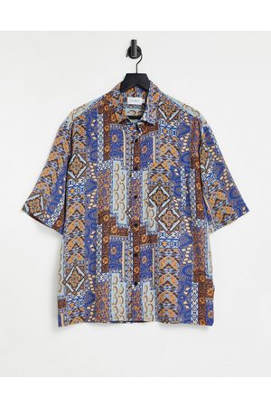 Topman Oversize vintage print viscose shirt in navy-Blue
