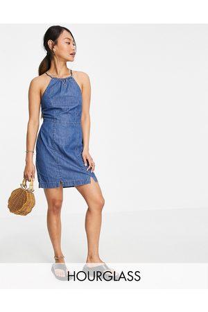 ASOS Hourglass soft denim halterneck slip dress in midwash-Blue