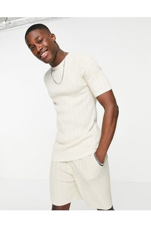 ASOS Muscle fit cable knit co-ord t-shirt in oatmeal-Neutral