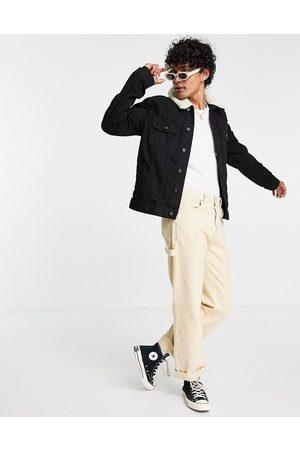 ASOS Herre Denimjakker - Denim jacket with detachable borg collar in black