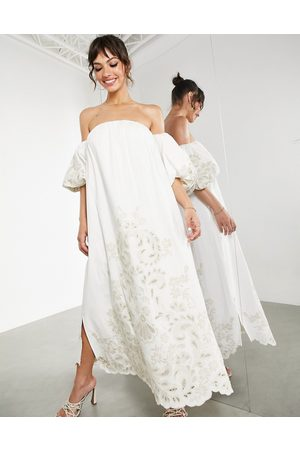 ASOS Off shoulder midi dress with tonal placement embroidery in ivory-White