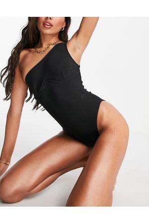 Public Desire One shoulder underwire bandage swimsuit in black