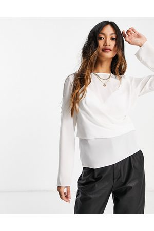 ASOS Long sleeve top with drape detail in ivory-White