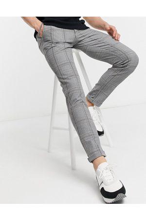 JACK & JONES Intelligence check trouser in grey-Black
