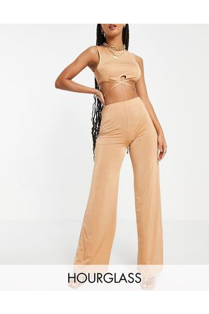 ASOS Hourglass slinky suit wide leg trouser co ord in gold