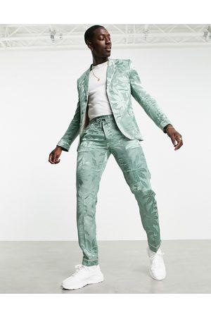ASOS Slim floral sateen pyjama suit trousers in green