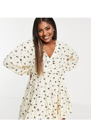 Native Youth Very oversized wrap front smock dress in panda party print-Neutral
