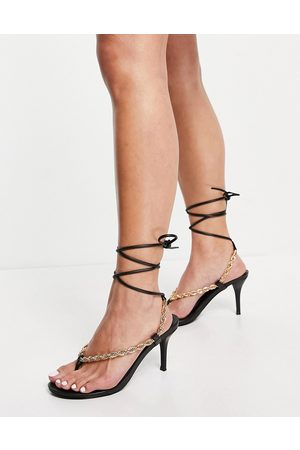 Public Desire Amarlie heeled sandals with chain detail in black