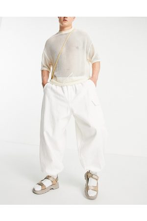 ASOS Trousers with elasticated waist and cargo pocket in white-Grey