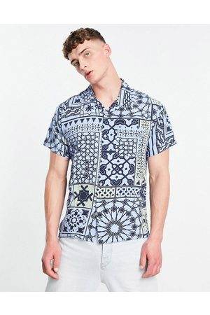 Obey Pathos print short sleeve shirt co-ord in blue-Navy