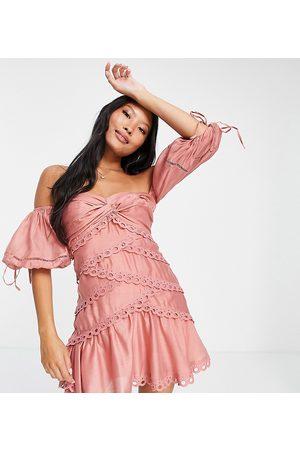 ASOS ASOS DESIGN Petite Off shoulder twist detail voile mini dress with lace trim-Multi