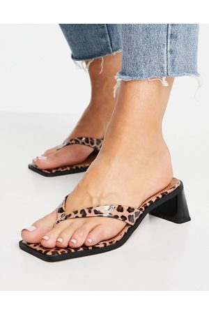 ASOS Hissy toe thong mid heeled sandals in leopard-Multi