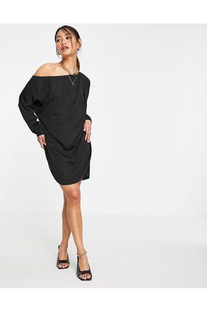 ASOS Slouchy off shoulder mini shift dress in black