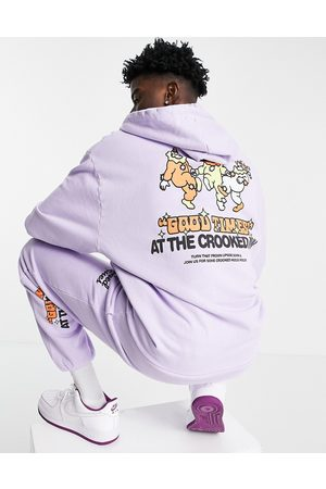 Crooked Tongues Herre Sett - Co-ord hoodie with good times print in purple