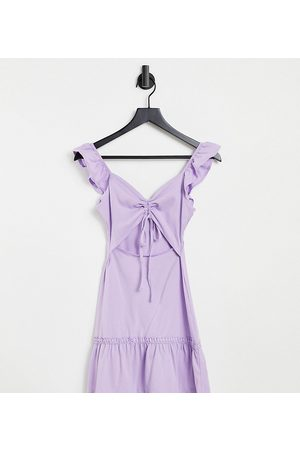 ASOS Dame Strandkjoler - Petite cut out sundress with ruffle shoulder in lilac-Purple