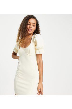 ASOS ASOS DESIGN Petite cupped flute sleeve bodycon mini dress in beige-Multi