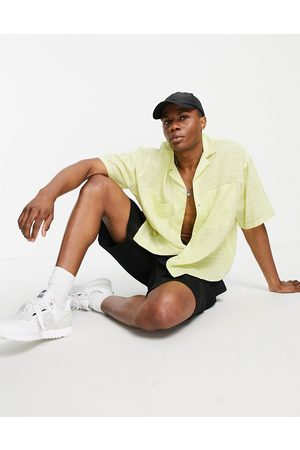 ASOS Boxy oversized beach shirt in sheer casual check in lime-Green