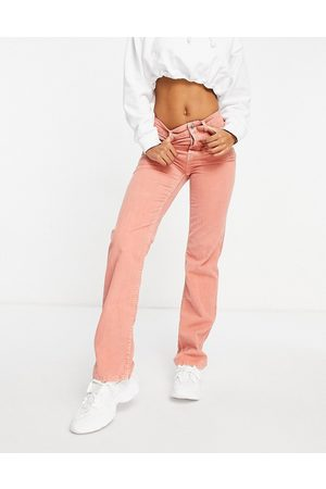 ASOS Mid rise '90's' straight leg jeans in coral waffle cord-Pink