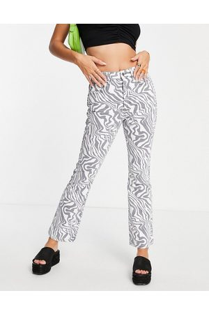 ASOS Mid rise exaggerated flare jeans in zebra print-Multi