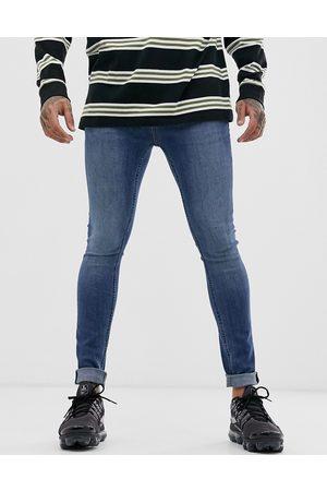 Topman Spray on jeans in mid wash-Blue