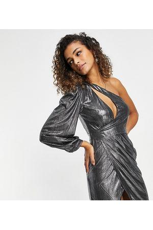 EI8TH HOUR One sleeve mini dress in metalic silver